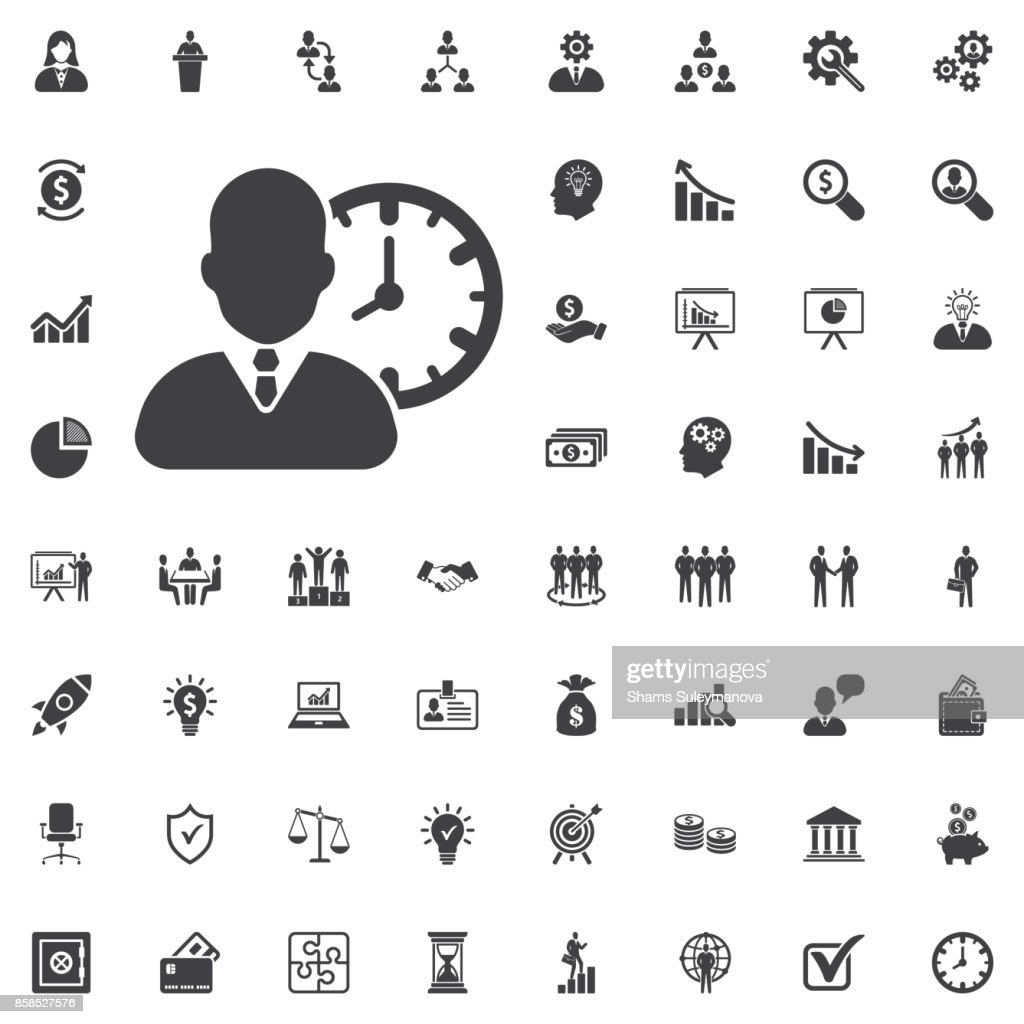 Human with clock icon simple vector illustration