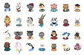 Humanized animals icons set.