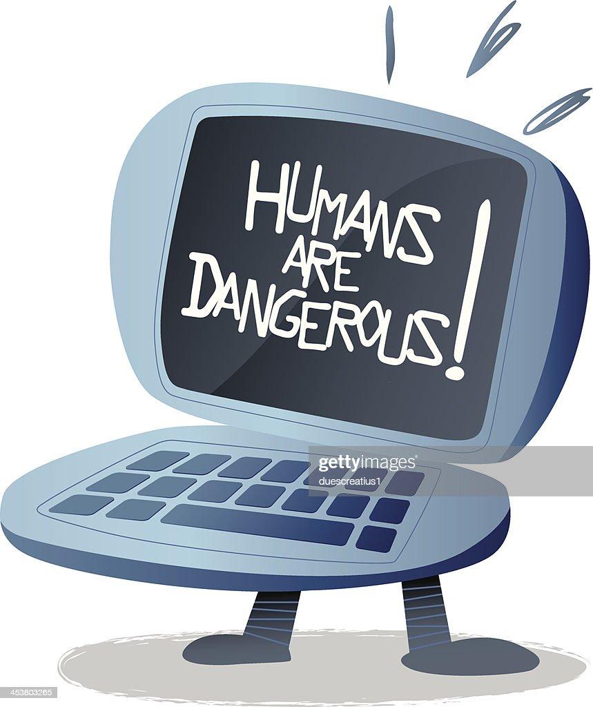 Humans Are Dangerous Retro Computer Laptop stock
