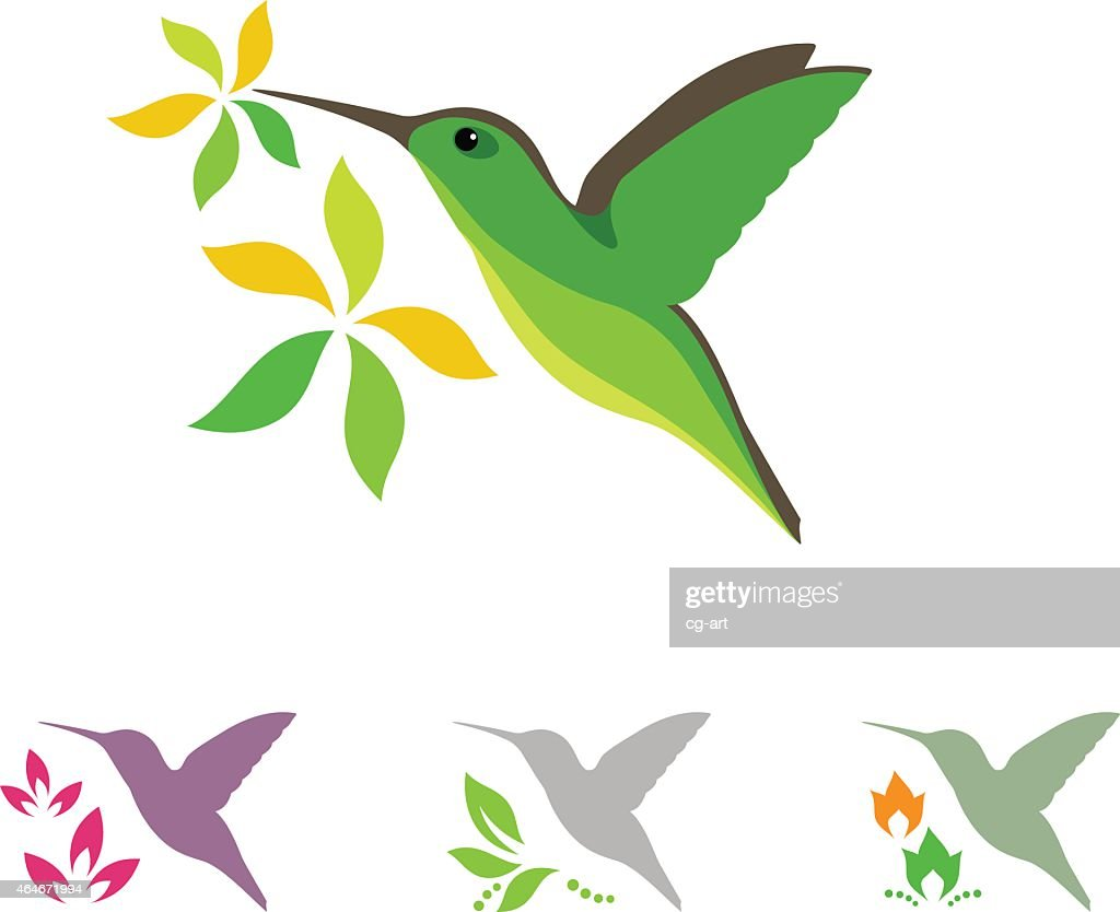 Humming bird and flower icons