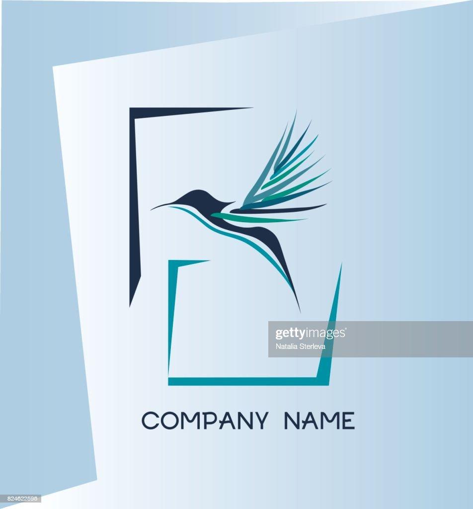 Humming bird. Kolibri bird. Company symbol.