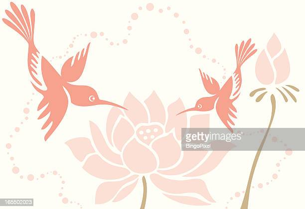 Humming Bird Mom & Child with Lotus Flowers