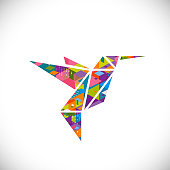 Humming bird symbol with colorful geometric graphic in triangle concept