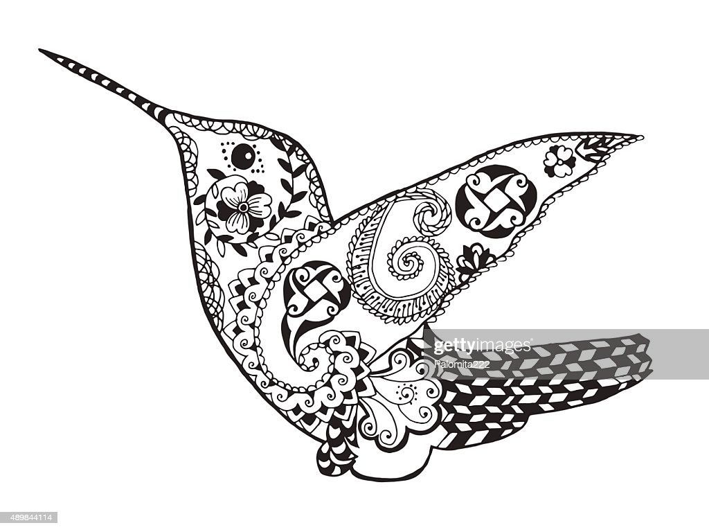 Hummingbird. Sketch for tattoo or t-shirt