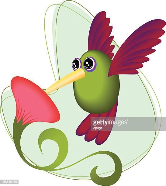 Hummingbird Tasting Flower