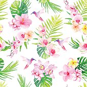 Hummingbirds and flowers seamless vector pattern