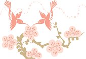Hummingbirds Couple & Cherry Blossom Flowers