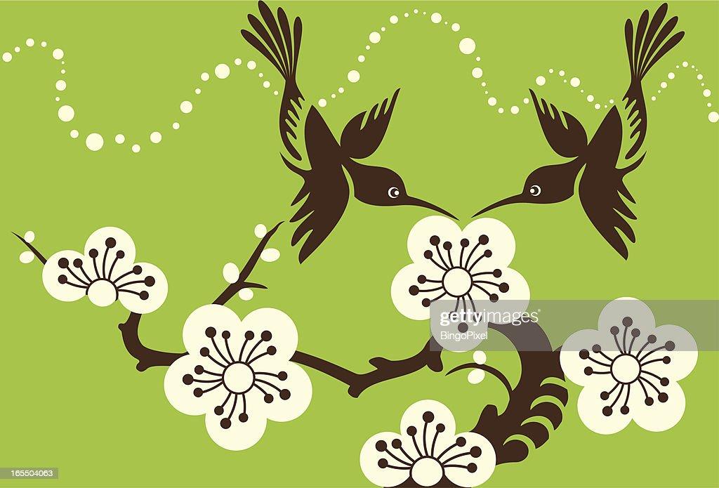 Hummingbirds Couple & Cherry Blossom Flowers