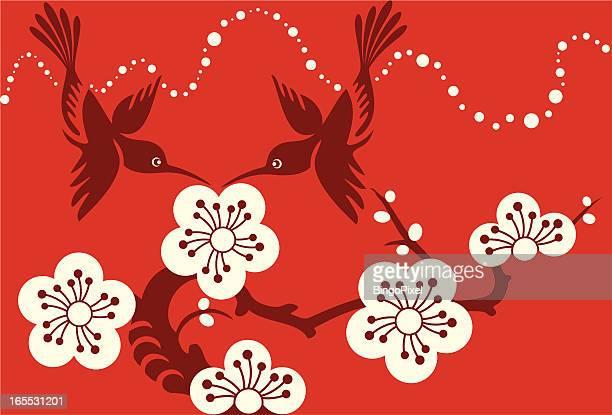 illustrations, cliparts, dessins animés et icônes de on y trouve des colibris couple & fleurs de cerisiers en fleurs - fleur de cerisier
