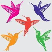 Hummingbirds Silhouettes Set