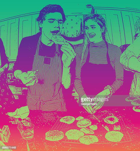 Humorous, colorful illustration of a young couple baking cookies and having fun