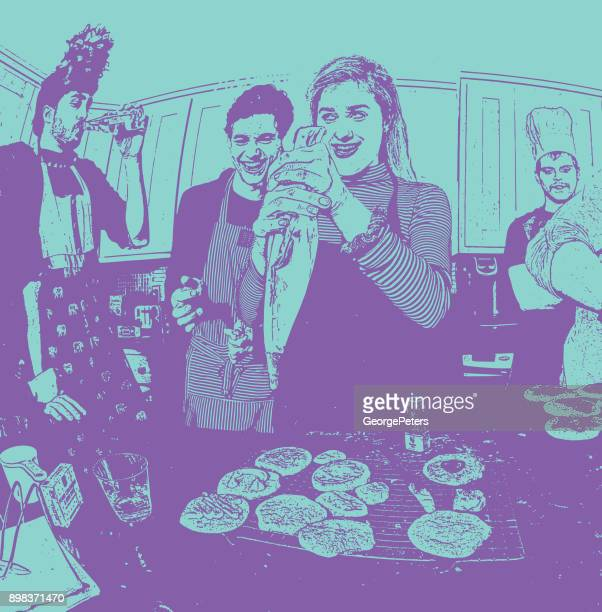Humorous, colorful illustration of friends baking cookies and having fun