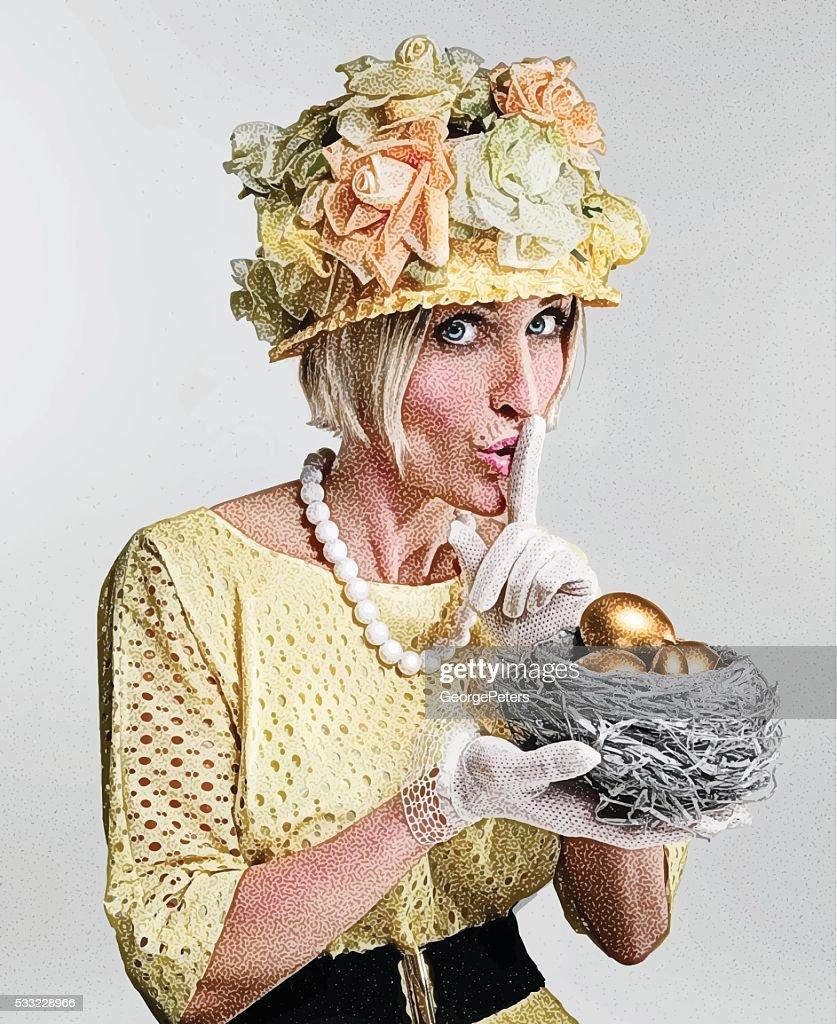 Humorous, Eccentric Woman Holding Financial Nest Egg : stock illustration