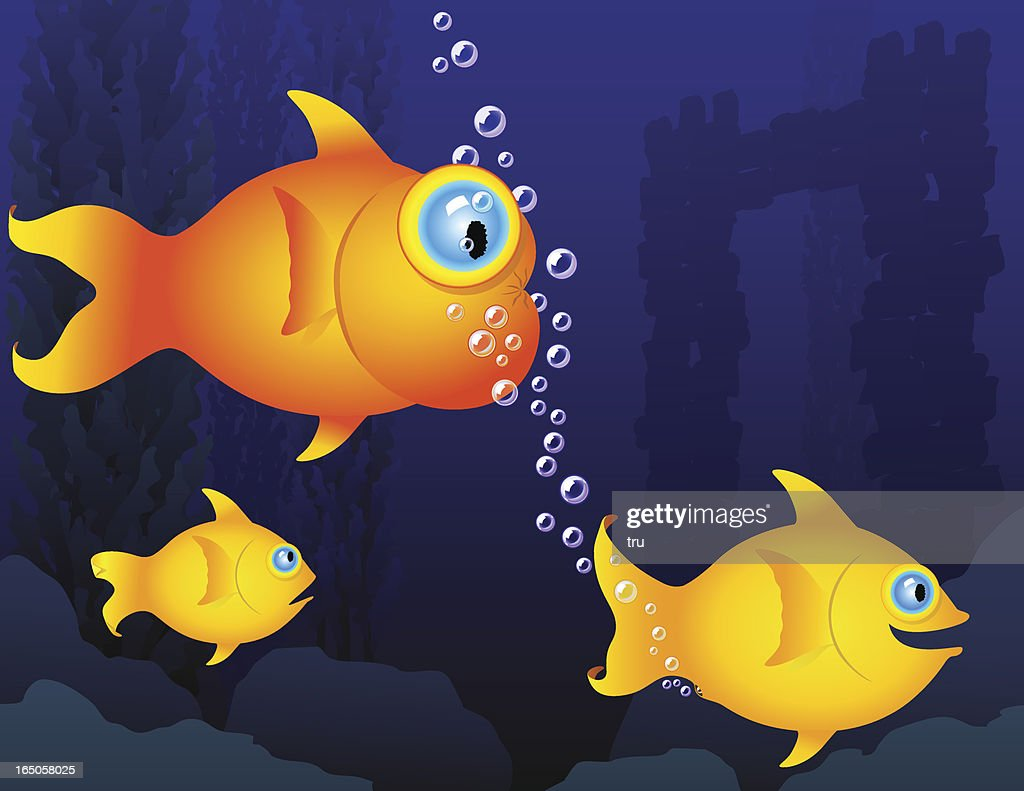 Humorous fish - gas bubbles : stock illustration
