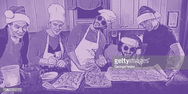 ilustrações, clipart, desenhos animados e ícones de ilustração humorística de um grupo de amigos fazendo biscoitos de natal - intoxicação por cannabis