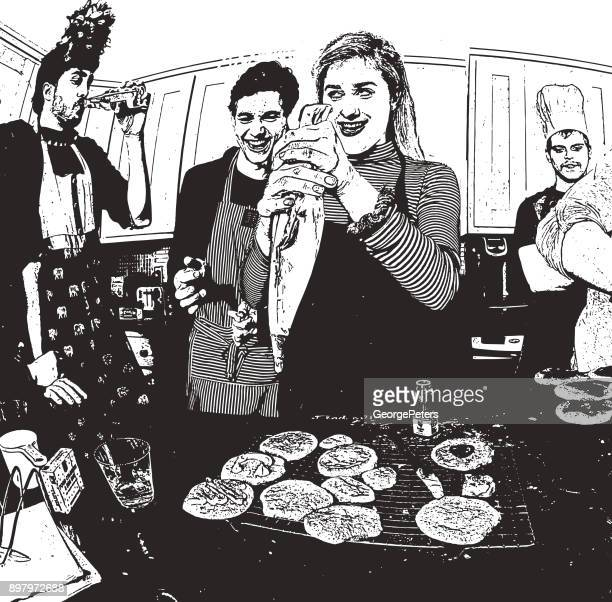 Humorous, illustration of friends baking cookies and having fun