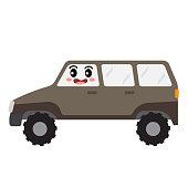 Humvee transportation cartoon character side view vector illustration