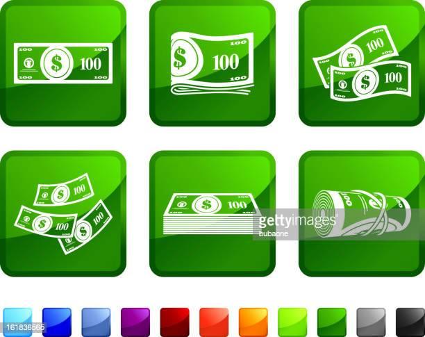ilustraciones, imágenes clip art, dibujos animados e iconos de stock de hundred dollar bills dinero sin royalties de vector icon set pegatinas - fajo de billetes
