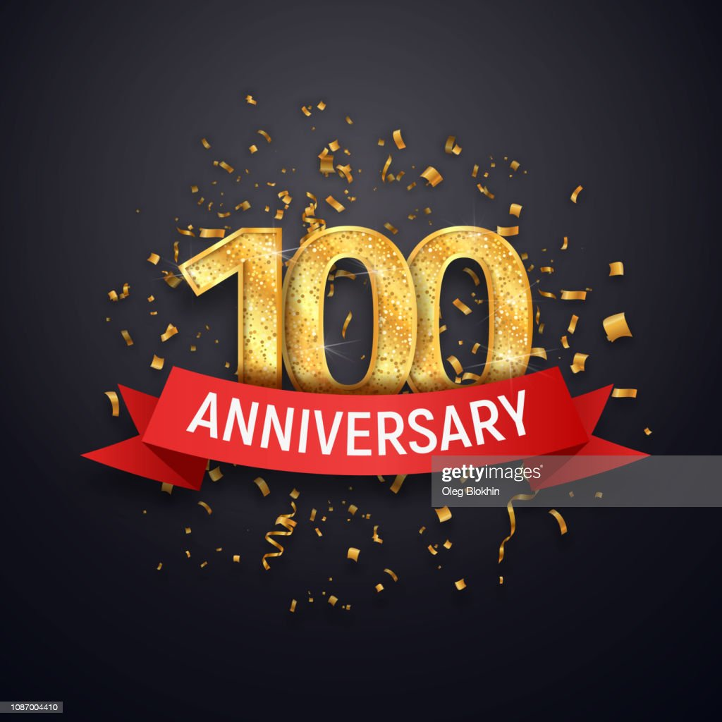 Hundred years anniversary icon template. 100 th celebrating golden numbers with red ribbon vector and confetti isolated design elements