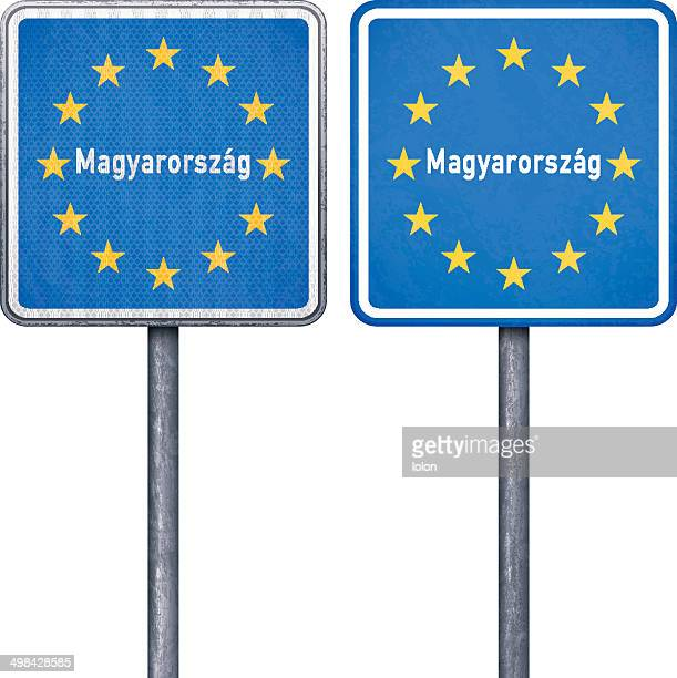 Hungarian border road sign with European flag