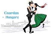 Hungarian Couple performing Csardas dance of Hungary