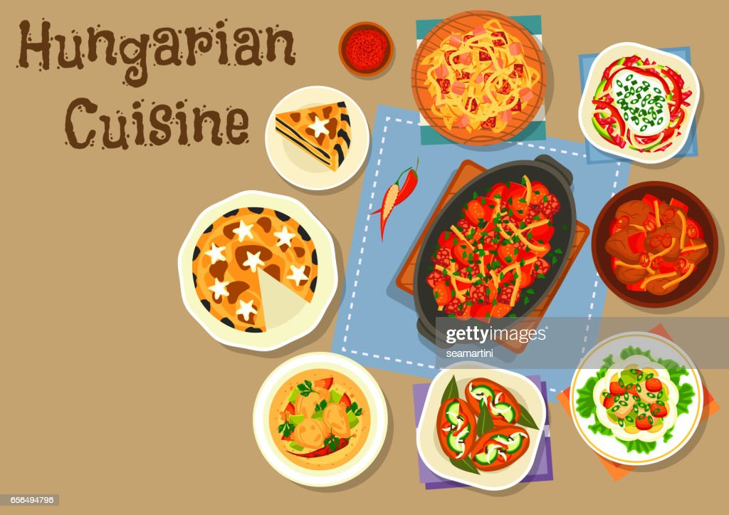 Hungarian cuisine meat dinner dishes icon