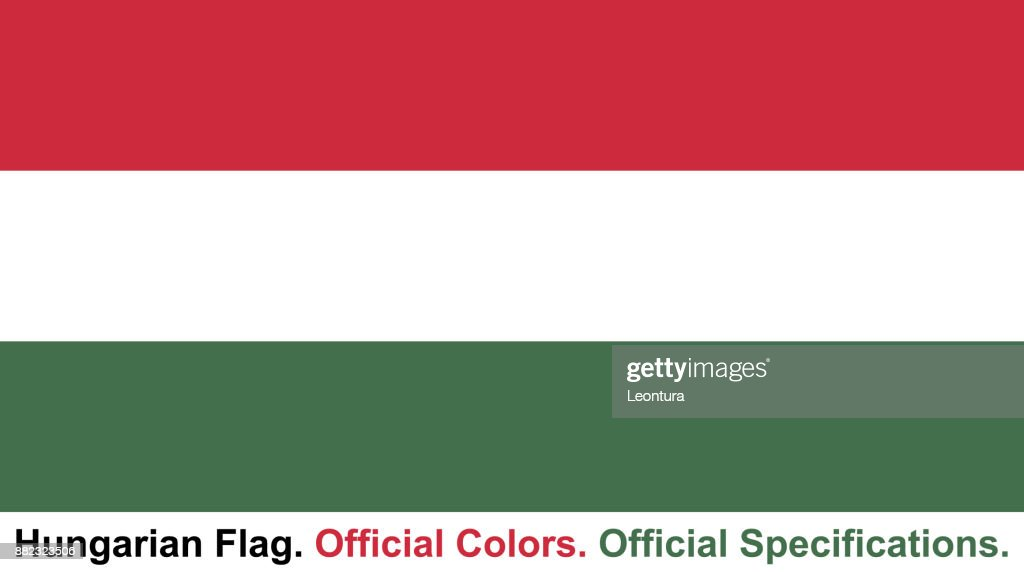 Hungarian Flag (Official Colors, Official Specifications) : stock illustration