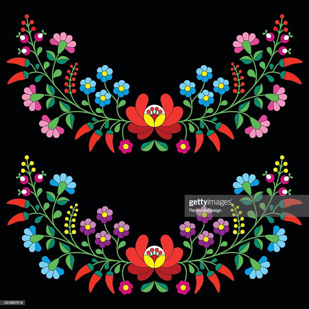 Hungarian floral folk pattern - Kalocsai embroidery