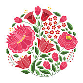 Hungarian folk pattern vector. Kalocsa floral ethnic ornament. Slavic eastern european print. Traditional embroidery flower design for gypsy woman clothing, home textile, pillow case, wedding card.