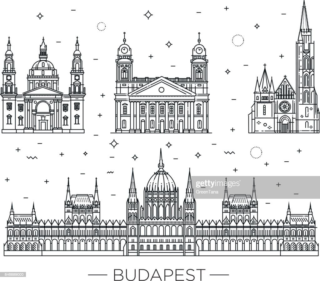 Hungarian travel landmark of historical buildings thin line icon set