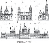 Hungarian travel landmark of historical buildings thin line icon set
