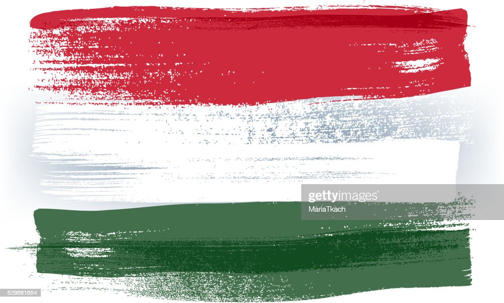 Hungary colorful brush strokes painted flag