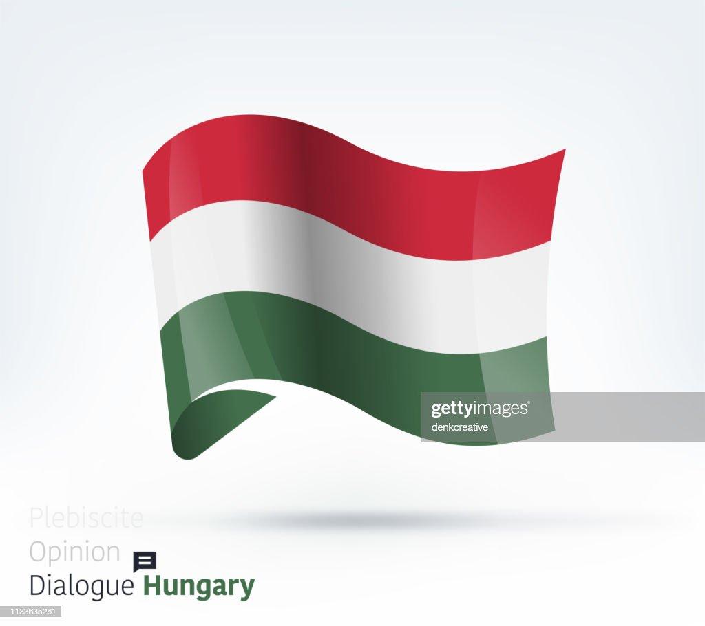 Hungary Flag International Dialogue & Conflict Management : stock illustration