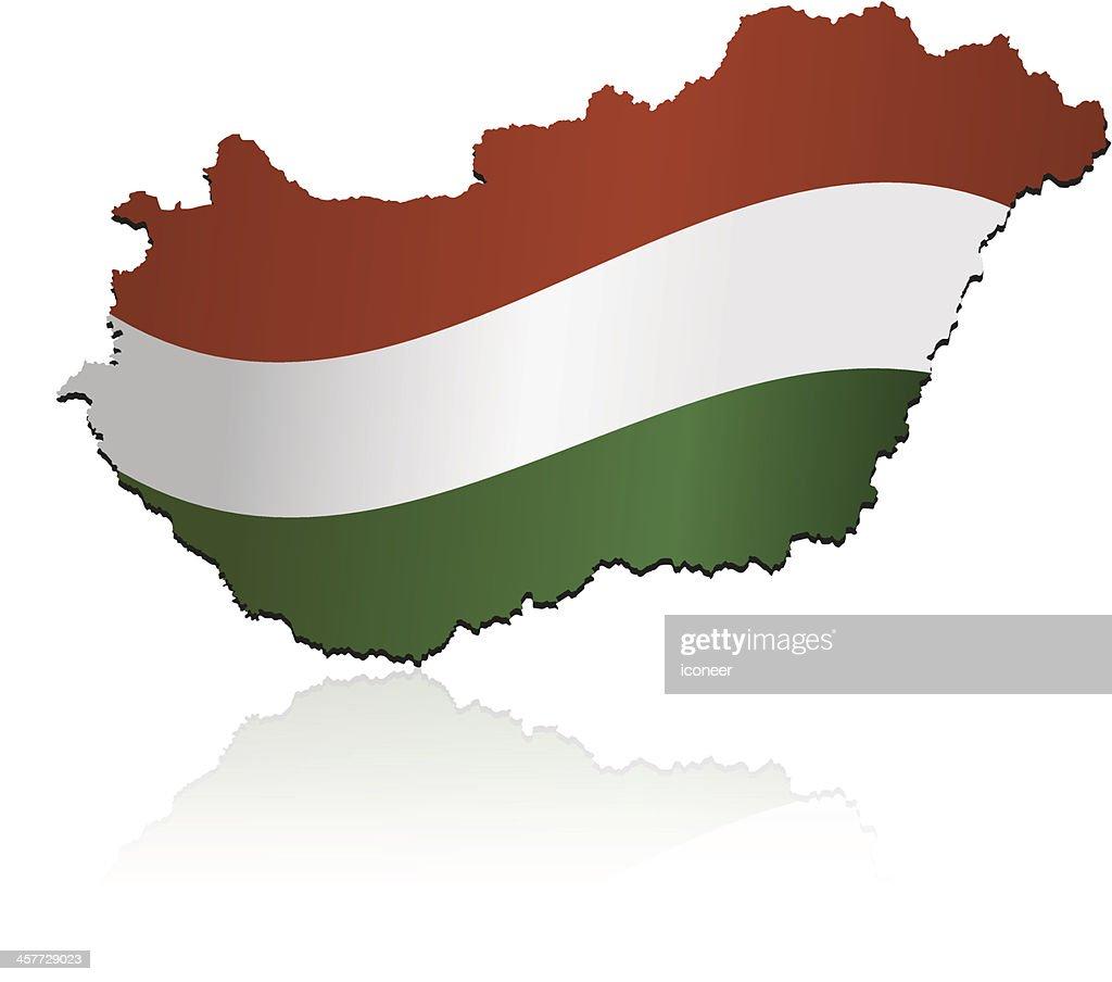 Hungary flag map : stock illustration