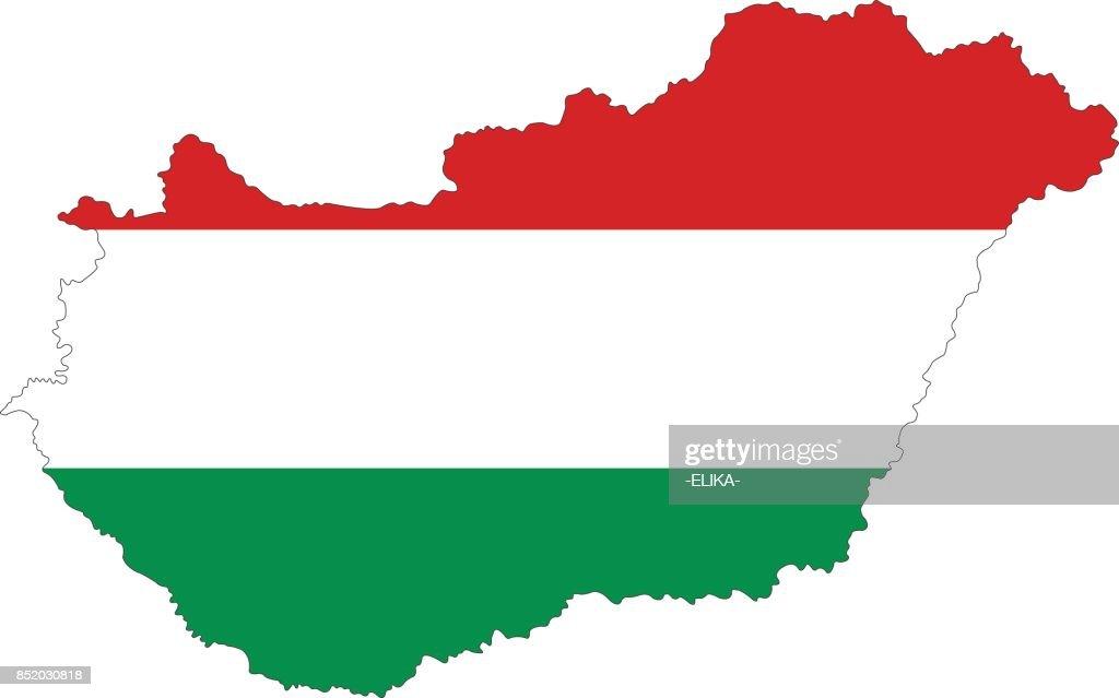 Hungary map and flag