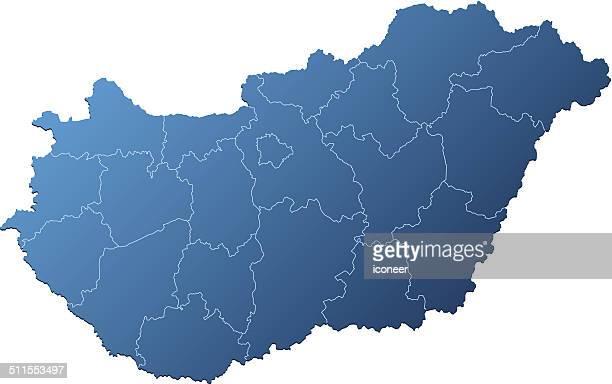Hungary map blue
