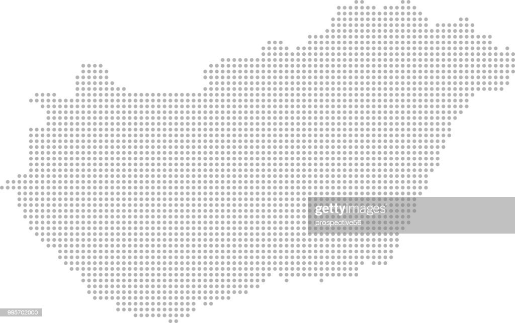 Hungary map dots vector outline, dotted map, point patterns map faded gray background image art