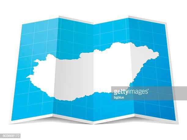 Hungary Map folded, isolated on white Background