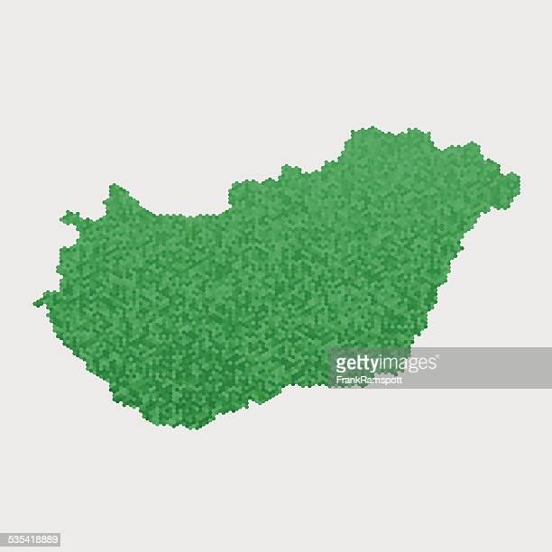 Ungarn Karte Grün Sechseck Muster