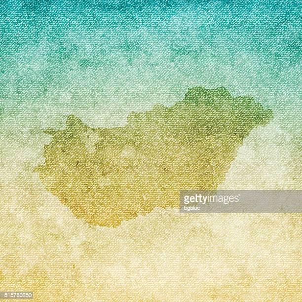 Hungary Map on grunge Canvas Background
