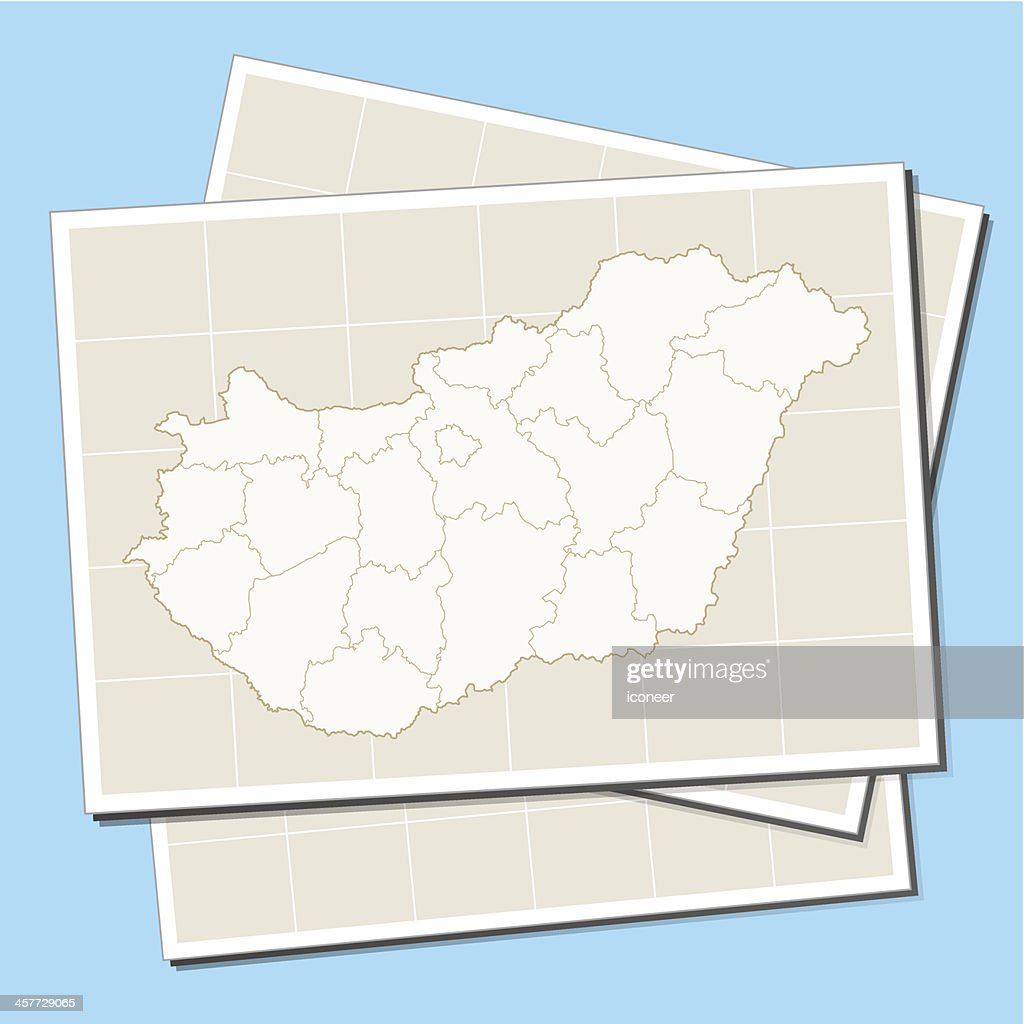 Hungary map on paper : stock illustration