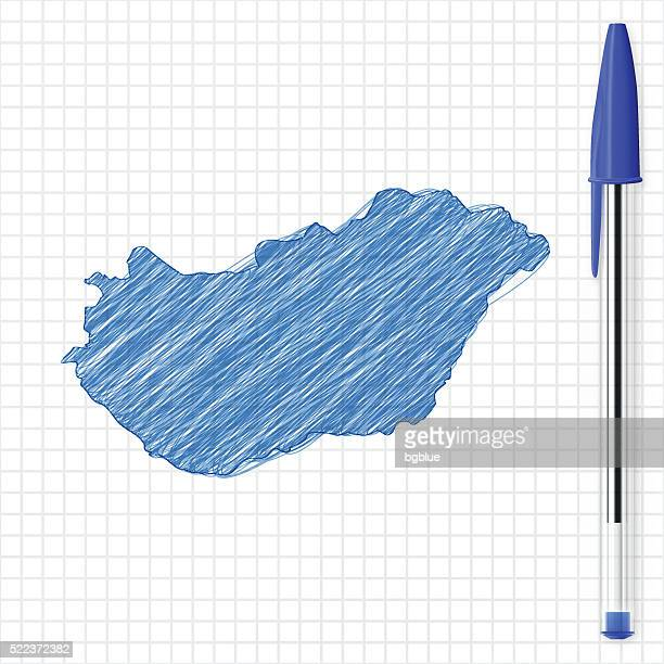 Hungary map sketch on grid paper, blue pen