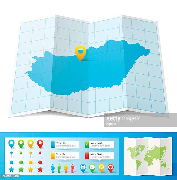 Hungary Map with location pins isolated on white Background