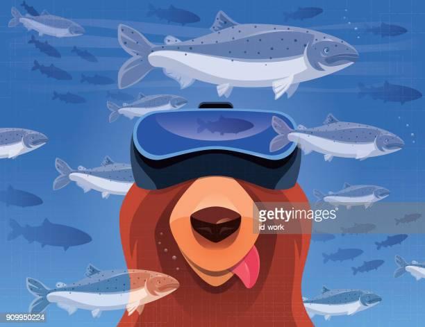 hungriga björnskådning laxar med VR-glasögon
