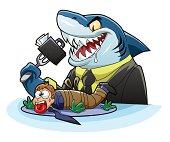 Hungry business shark