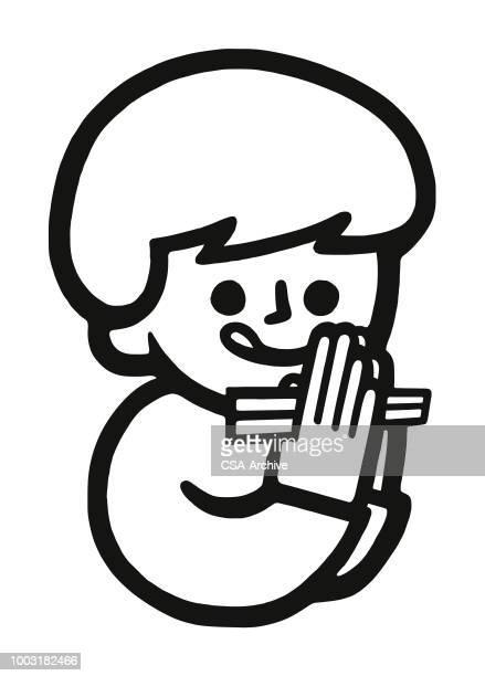 hungry child holding chopsticks - chopsticks stock illustrations, clip art, cartoons, & icons