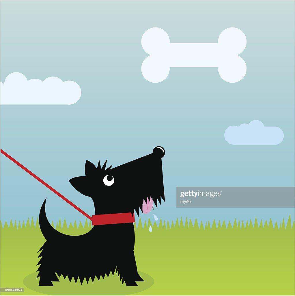 Hungry dog : stock illustration