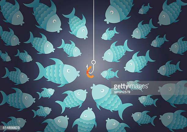 hungry fish and bait - animal scale stock illustrations, clip art, cartoons, & icons