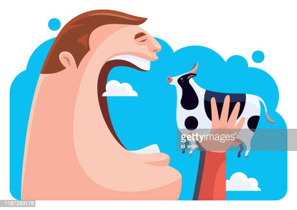 hungry man eating cow - mouth open stock illustrations