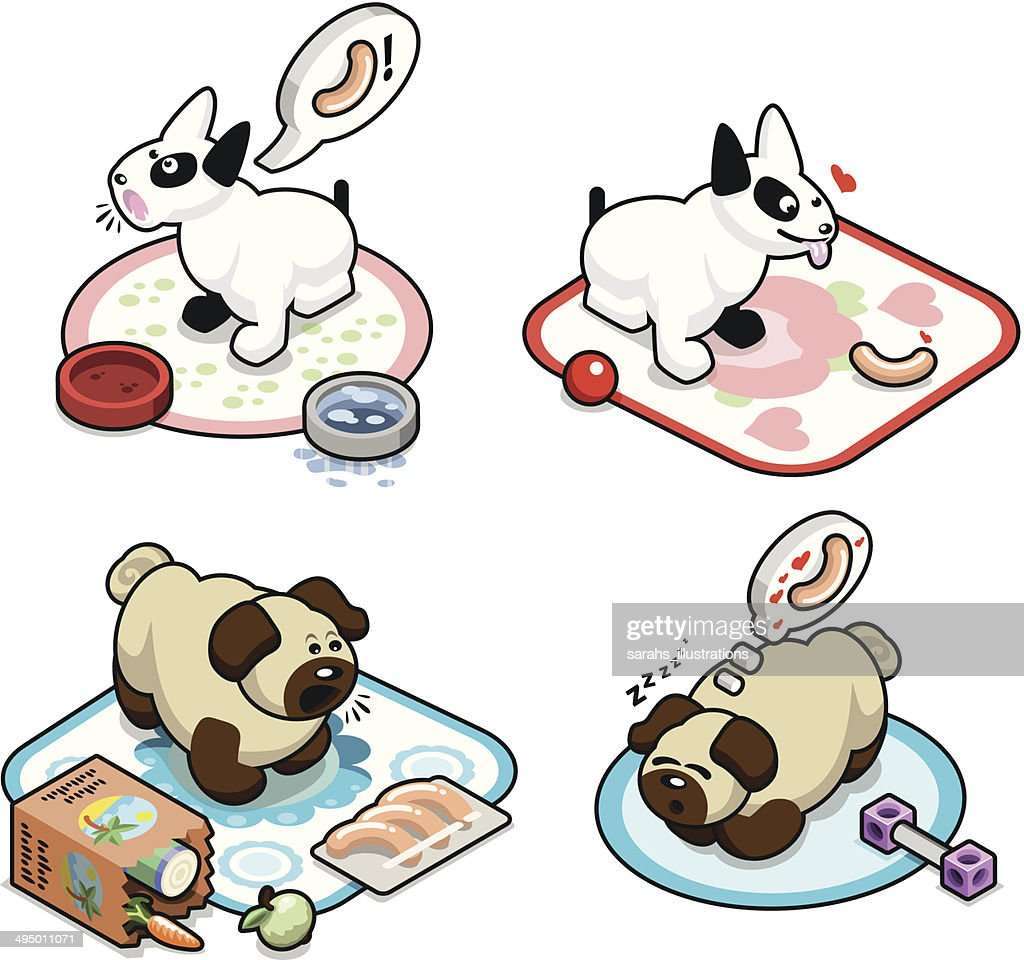 Hungry pug pups and bullterrier pups with wieners - vector